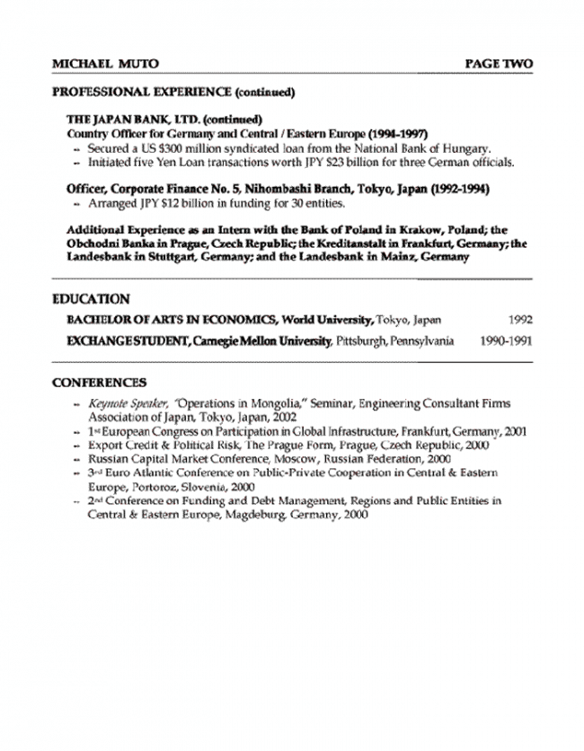 Banker Resume Page 2