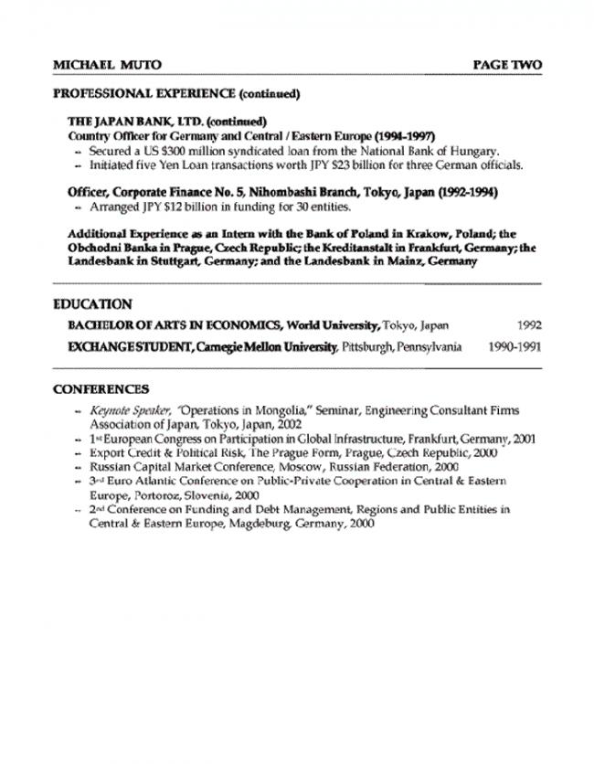 Banker Resume Page 2  Banker Resume