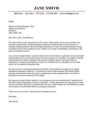 Carbon Market Director Cover Letter Sample