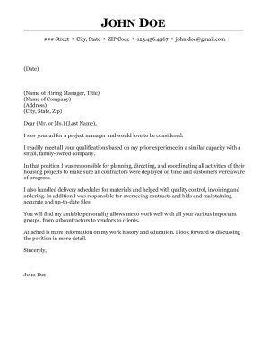 construction project manager cover letter - Cover Letter For Project Manager