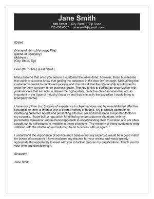 Customer Service Cover Letter Sample
