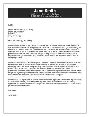 Customer Service Cover Letter Sample