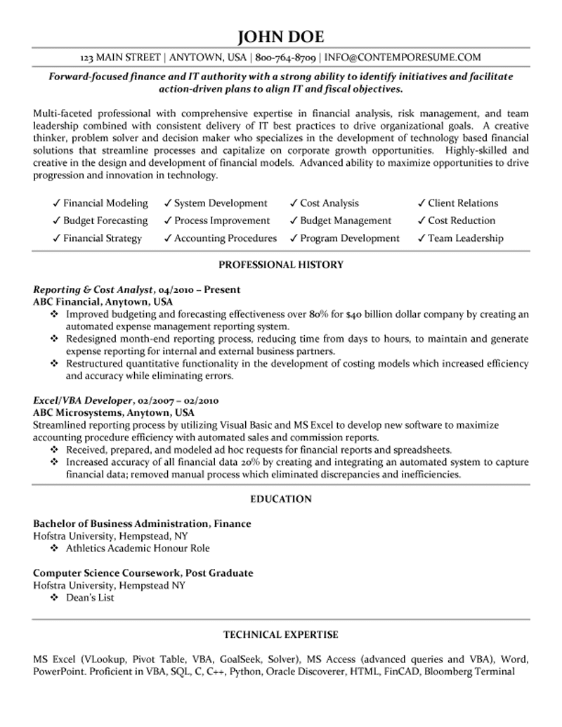 Cost Analyst Resume