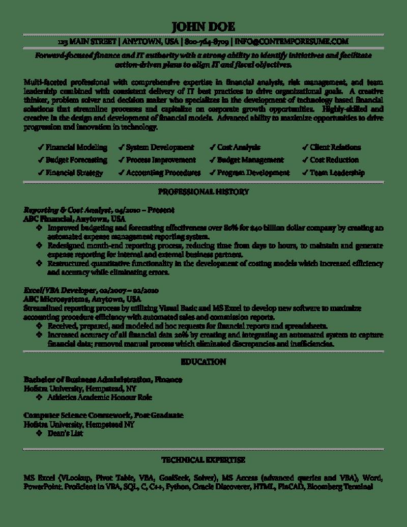 budgeting and forecasting resume