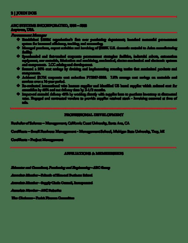 global procurement executive resume