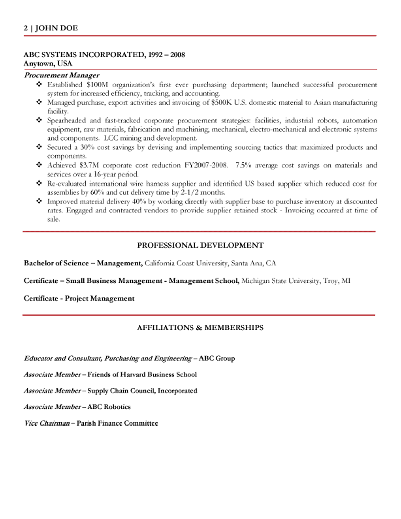 Global Procurement U0026 Supply Change Executive Resume Page 2