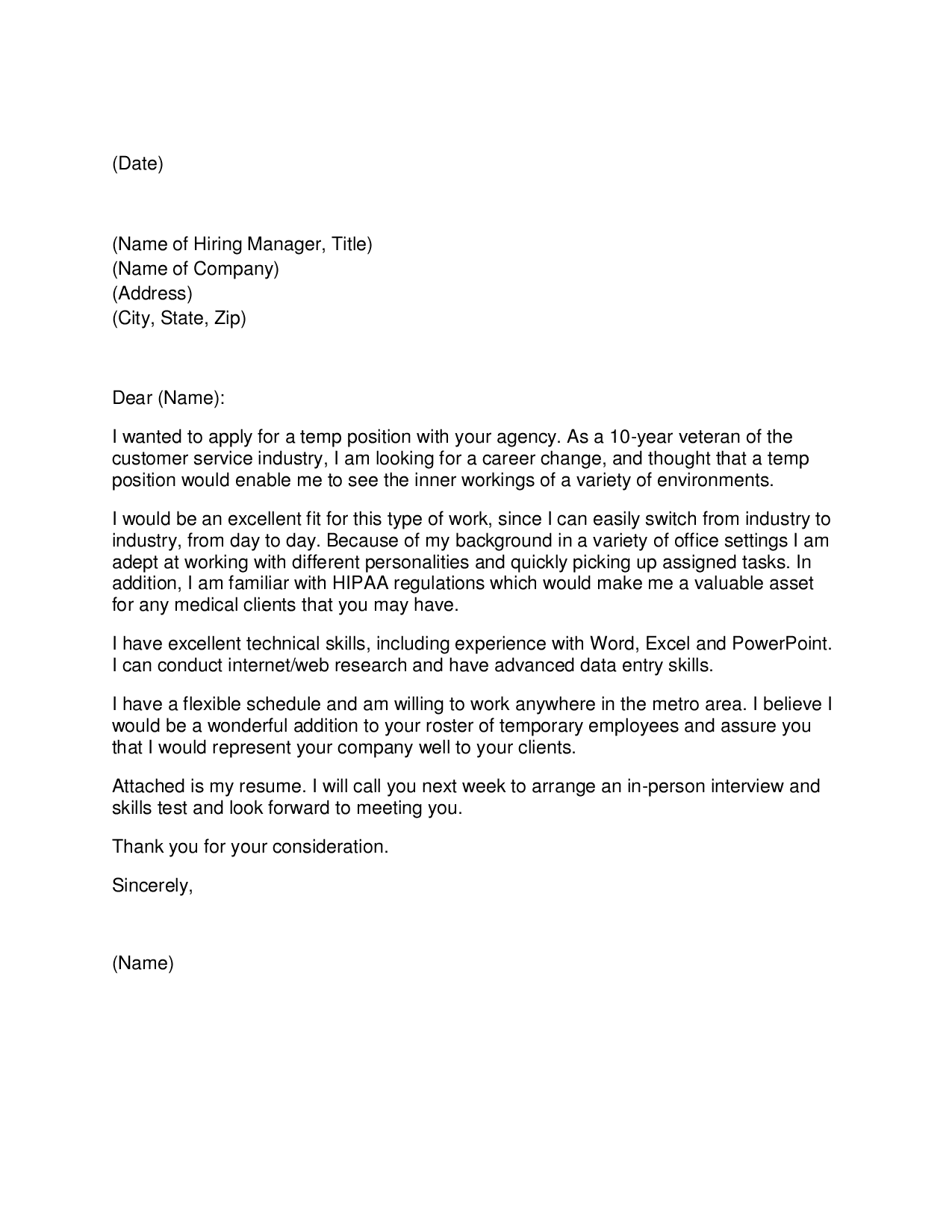cover letter to temp agency employment - Cover Letter To Staffing Agency