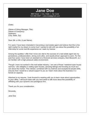 real estate cover letter - Real Estate Cover Letter