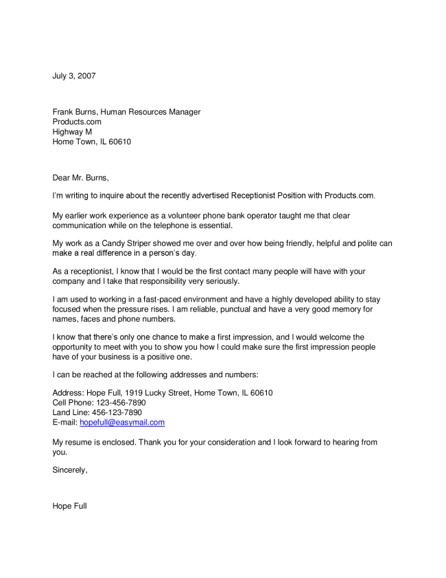 Receptionist Cover Letter #2