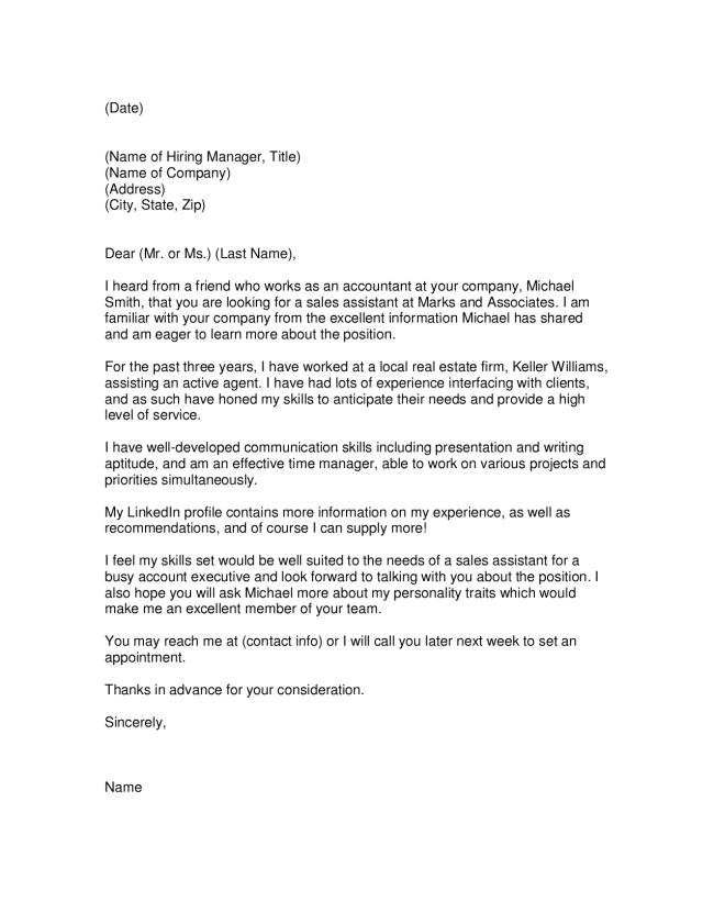 Sales Assistant Cover Letter