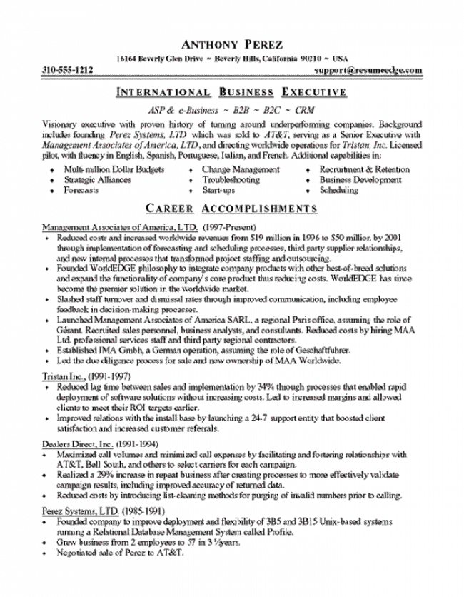 Software Executive Resume