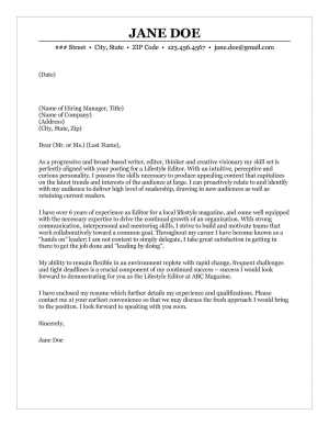 Writer Cover Letter Sample