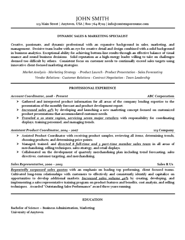 Sales & Marketing Specialist Resume Example (Use of Lines, Bold, Underline and Italics for Attention to Certain Information)