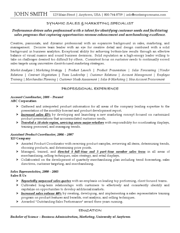 Sales & Marketing Specialist Resume Example (Font Variations)