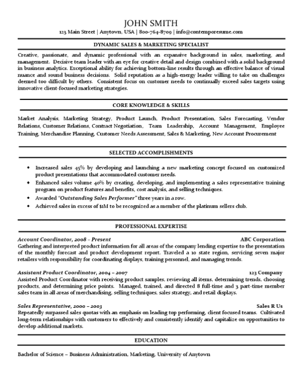 sales  u0026 marketing specialist resume  accomplishments