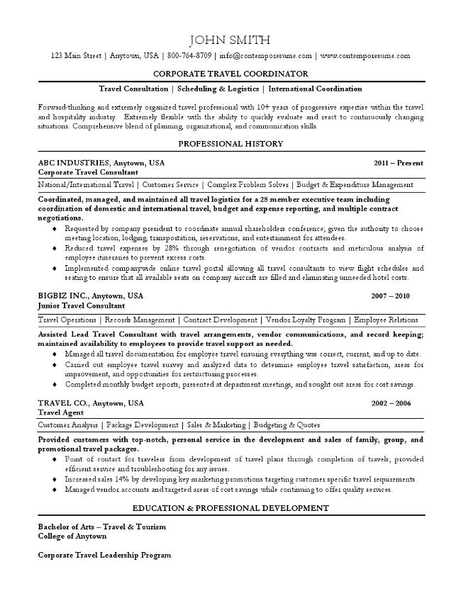 Travel Coordinator Resume
