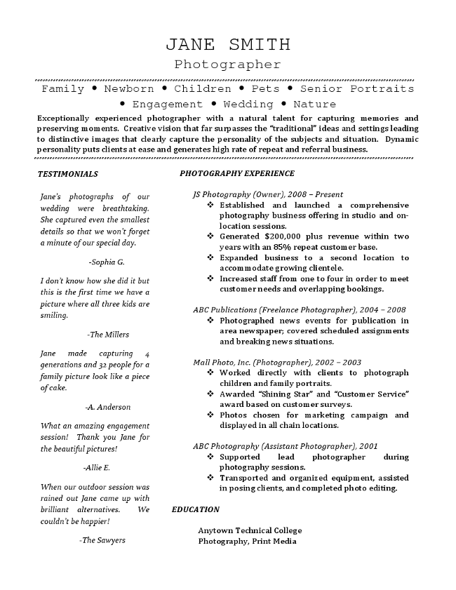Freelance Photographer Resume  Smallest Font For Resume