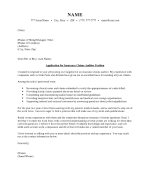 Insurance Claims Auditor Cover Letter