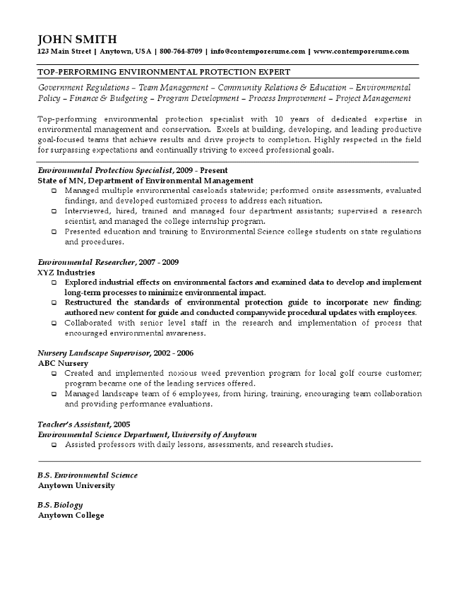 Environmental Protection Expert Resume