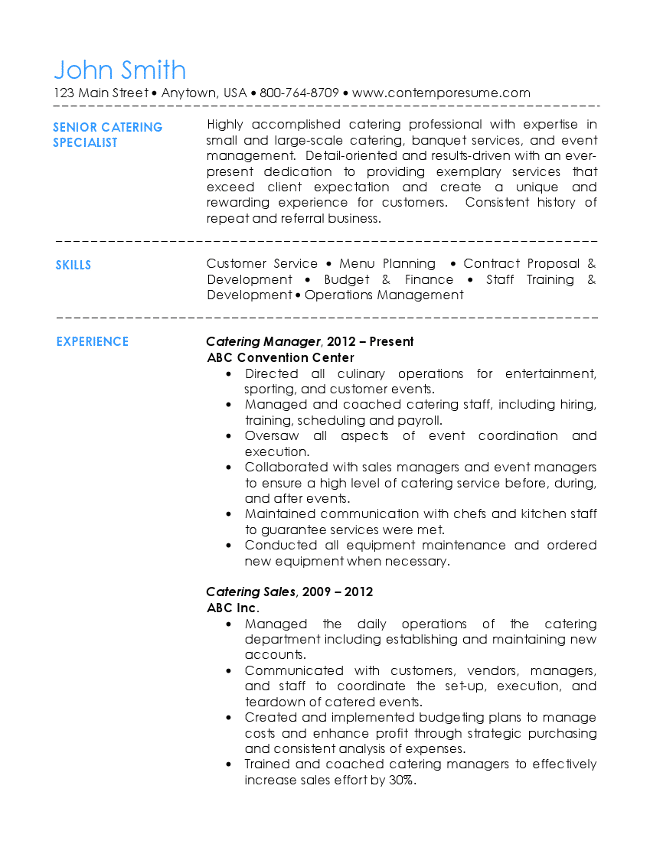 wonderful workalpha with catering resume