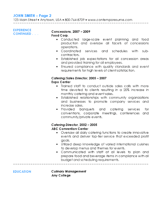 catering description for resumes