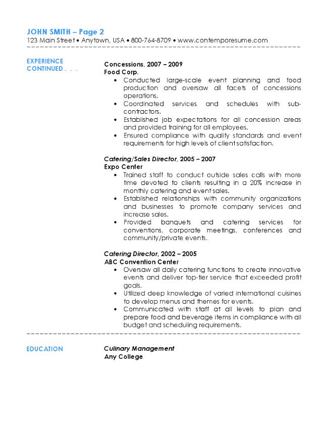 Elegant Senior Catering Specialist Resume Page 2 Regarding Catering Resume