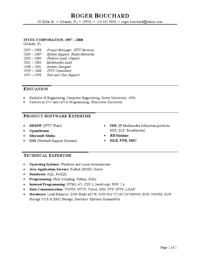 IT Project Manager Resume Page 2  It Project Manager Resume