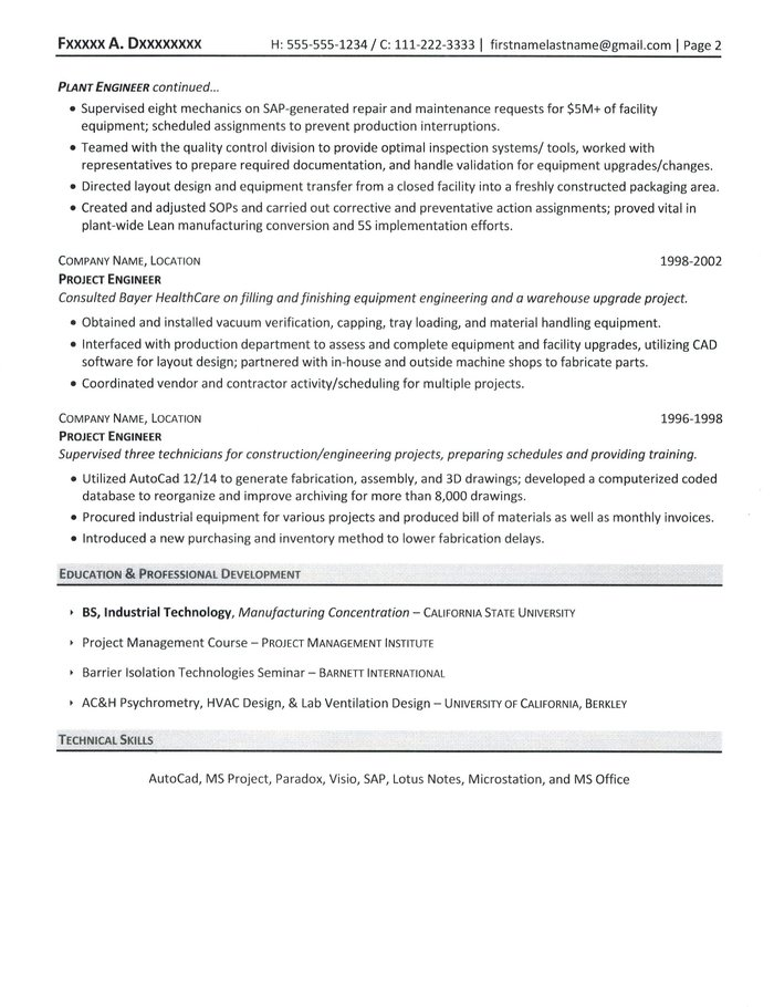 project manager resume sample - Sample Resume Of Engineering Project Manager