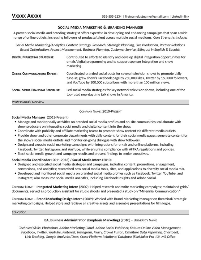 Social Media Marketing & Branding Manager Resume