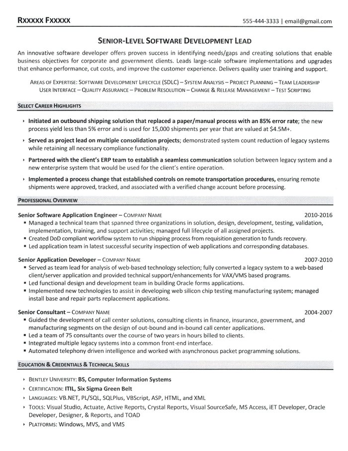 software developer resume sample - Software Developer Resume