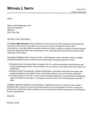 Flight Attendant Cover Letter. (Date)