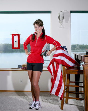 Photo of Sarah Palin and a flag in Runner's World