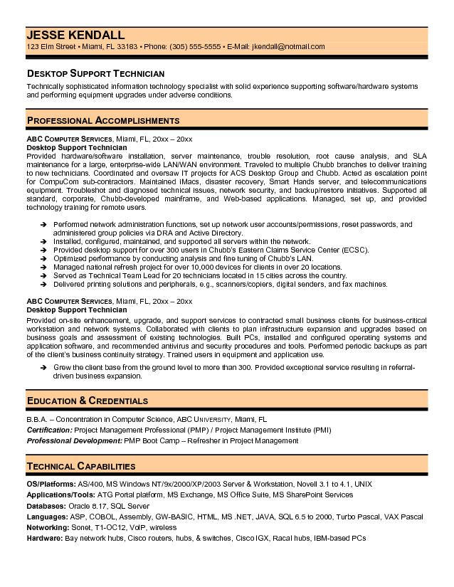 Take note of important requirements and skills—the resume keywords. Desktop Support Technician Resume