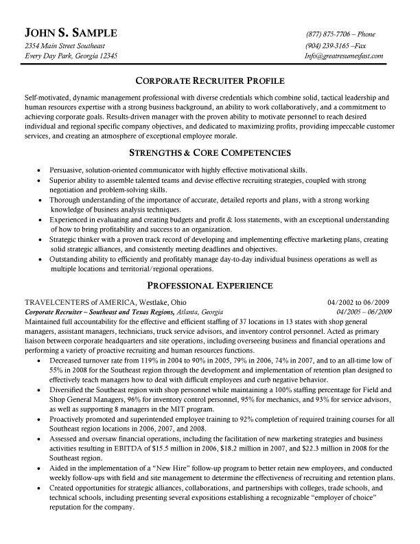 Recruiter Resume Summary Resume Sample