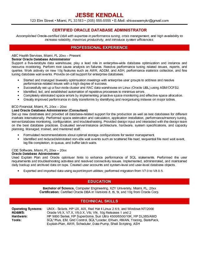 Database Management Resume - Resume Sample