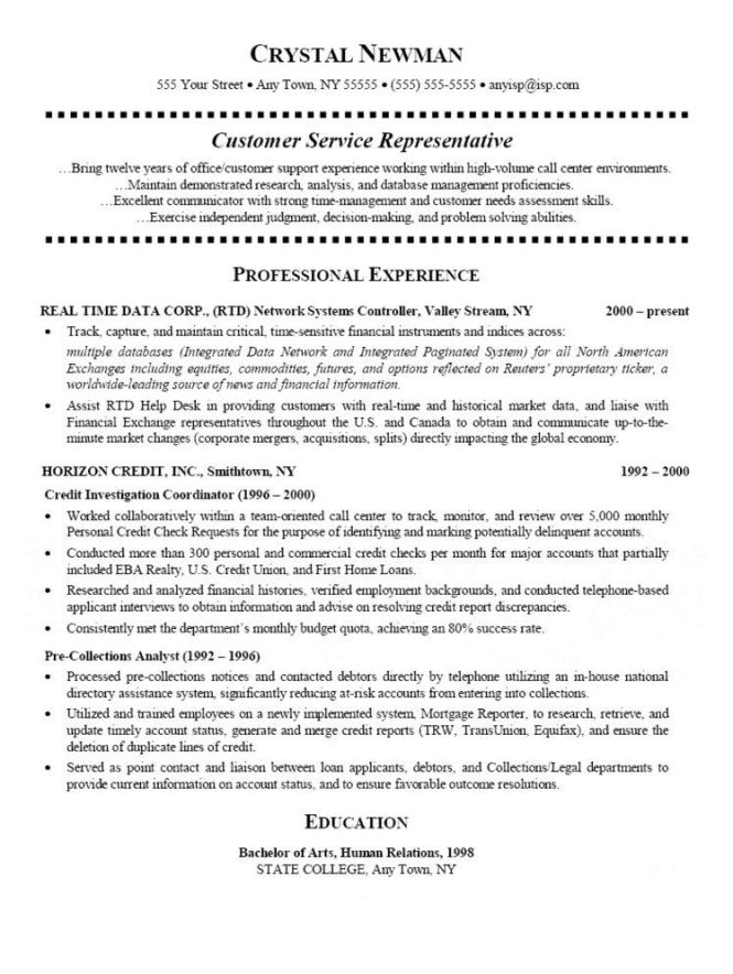 customer service representative resume template