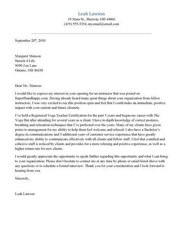 Yoga Instructor Cover Letter