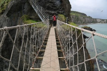 Handmade suspension bridge on the English coast