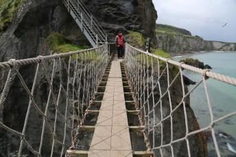 Handmade suspension bridge on the English coast