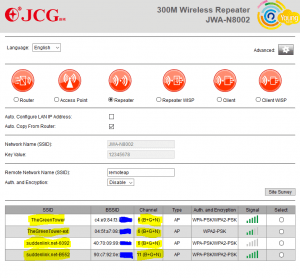 JCG Repeater Easy Config With Site Survey