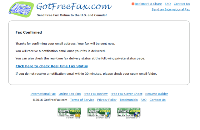 GotFreeFax Email Confirmation