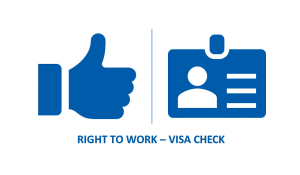 An icon of a thumbs up and an identity badge with the text Right to work VISA Check