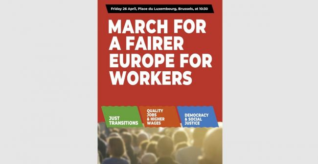 European Education trade unionists to join large rally for a fairer Europe for workers – 26 April