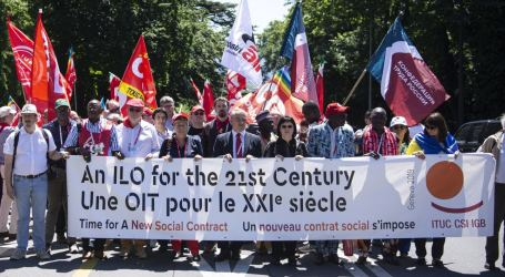 World unions march to UN for a fair social contract