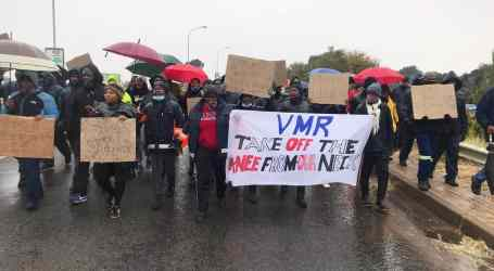 Workers protest unpaid wages and retrenchments at South African gold mines