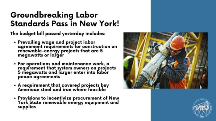 Climate Jobs NY Update: NYS Adopts Historic Renewable Energy Job Standards