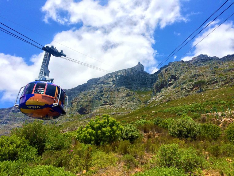 A cable car going up Table Mountain