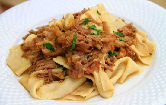 Homemade pappardelle with pulled pork