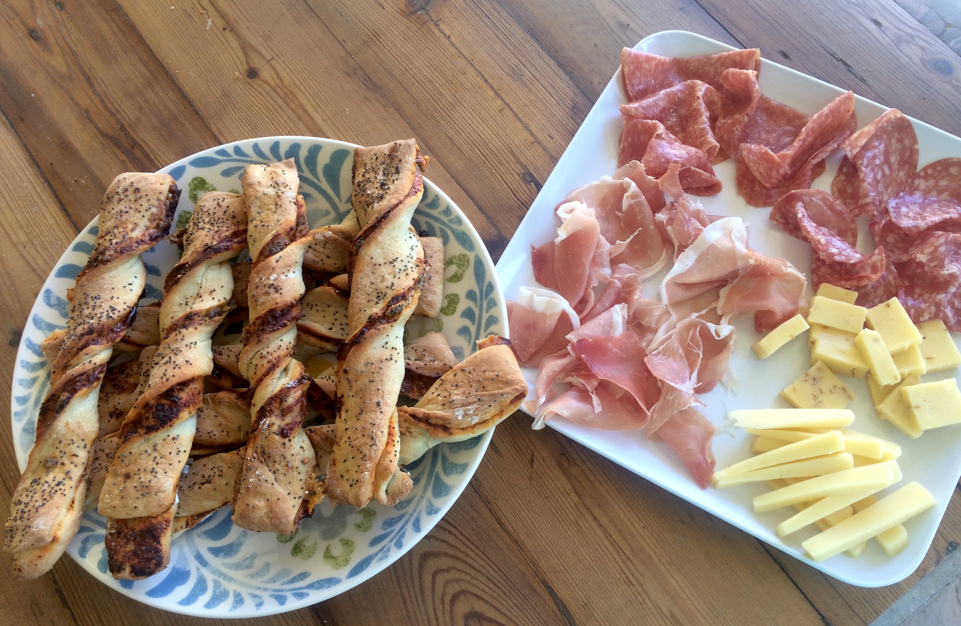 Sundried tomato and anchovy breadsticks