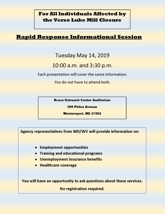 Rapid Response Information Session Flyer
